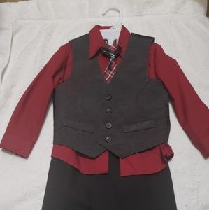Toddler Boy Black/Burgundy Suit
